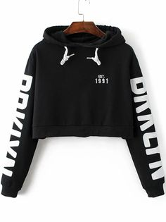 Shop Black Letter Print Hooded Crop Sweatshirt online. SheIn offers Black Letter Print Hooded Crop Sweatshirt & more to fit your fashionable needs.