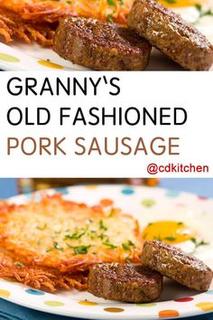 Granny's Old Fashioned Pork Sausage - Want to try your hand at making homemade sausage? This simple recipe yields great, consistent results. Kitchen Aid has a meat grinder attachment for its stand mix Sausage Meat Recipes, Breakfast Sausage Seasoning, Homemade Sausage Recipes, Homemade Breakfast Sausage, Breakfast Sausages, Pork Sausage Seasoning Recipe, Ground Pork Sausage Recipes, Homemade Italian Sausage, Chorizo