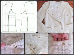 Jacket inspired by the style of Chanel. Designer / Pattern / Sewing by Iwakki. Fabric imported from the Netherlands.