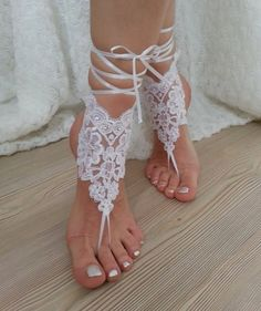 white  Barefoot  french lace sandals wedding by BarefootShop