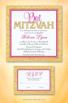 Glam faux glitter gold and hot pink Bat Mitzvah invitations. Save when you order 25 or more invites.