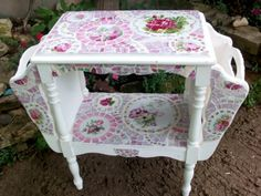 Shabby Cottage Rose China Mosaic Tile Magazine Table by hillspeak