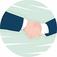 Illustration of businessmen hand shaking
