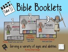 This set of 3 booklets tells the story of Moses from the baby in the basket through the wilderness. Included are three ability levels which are great for the variety of students in your Christian classroom, Sunday School, or home school. Each booklet is 5 inches x 4.5 inches in size and 8 pages long.There is one page of application and one page of a bible verse at the end.Level 1: Primary: The pages consist of the story and pictures.