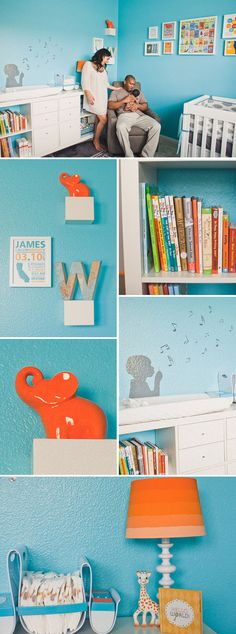 Colorful Music and Travel Inspired Nursery in Turquoise, Orange, and Gray