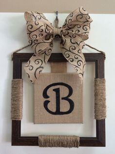 Monogrammed Burlap Hanger Personalized Letter Wreath,Monogrammed Burlap Hanger Personalized Letter Wreath Contemporary Decorations with Frame Models By placing your photos inside, you can easily place th. Burlap Projects, Burlap Crafts, Wood Crafts, Craft Projects, Diy Crafts, Craft Ideas, Decorating Ideas, Picture Frame Crafts, Picture Frames