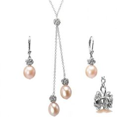 Isabella Rose 9-10mm Cultured Pearl Drop Sterling Silver Necklace and Drop Earrings Set - Peach Pink