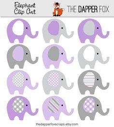 Púrpura y gris elefante Clip Art descargar por TheDapperFoxScraps