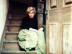 """PH by Milton Greene - He took Marilyn in the Fox studios, in the little french village built for """"What a Price Glory?"""" and took her in pictures"""