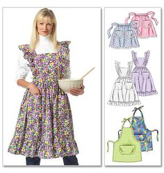 "M5358 Misses' Aprons  three aprons in several styles and lengths.  NOTIONS: Thread; Apron A - 31/4 Yds. of 3/4"" Wide Single-edged Eyelet Trim; Apron B - Two 5/8"" Buttons.  SUGGESTED FABRICS: Cotton and Cotton Blends • Chintz • Gingham • Calico • Canvas • Denim • Polished Cotton"