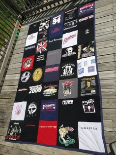 Old Rock Tshirts made into quilt. https://www.facebook.com/pages/Custom-T-shirt-Quilts-by-Raye-Lin/164548903576445