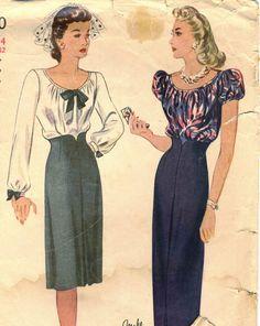 Vintage 40s Simplicity 4890 CUT Misses Shaped High by RomasMaison