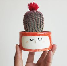 Cute Sleepy Ceramic Cups and Planters