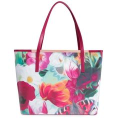Ted Baker London 'Lillyia - Floral Swirl' Printed Leather Shopper ($279) ❤ liked on Polyvore featuring bags, handbags, tote bags, fuchsia, leather handbag tote, shopping tote, white leather handbags, hand bags and white leather tote