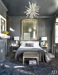 Could you sleep in this bedroom?? I can! I love the lucite chandelier.