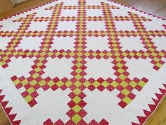 Antique c1860 Finely Quilted Turkey Red Yellow Irish Chain Quilt | Vintageblessings Irish Chain Quilt, Antique Quilts, Hand Quilting, Chains, Textiles, The Incredibles, War, Gowns, Stitch