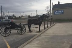 Amish Horse & Buggy Waiting Outside of an Old Fashioned Hardware in Grabill, Indiana