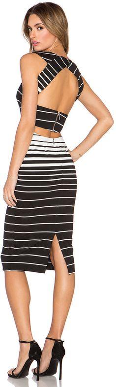NICHOLAS Corsica Stripe Deep V Dress