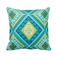 Outdoor Zippered Spanish Tile Peacock Throw Pillow Cover by Primal Vogue™ - Various Sizes - Citrine, Jade, Light Blue, White and Teal