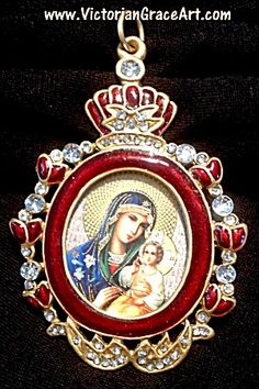 Rhinestone Red Enamel Orthodox Virgin Mary Jesus Icon Shrine Pendant  (Image1)Orthodox Christian / Catholic Icon: Madonna and Child Jesus Christ Shrine - Gold foil icon under glass. Clear rhinestone accents and dark red enamel. Gorgeous piece to wear as a large pendant, place on an altar, hang on the wall or use as an heirloom Christmas ornament.. 3 inches long entirely.