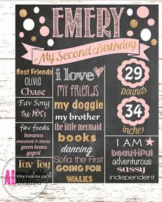 Girl's Second Birthday Chalkboard/Pink and Gold Glitter Chalkboard/Second Birthday Poster/Girl's Birthday/Personalized Milestones/Custom by ALMemorableCreations on Etsy Pink Gold Birthday, Girl 2nd Birthday, Birthday Board, First Birthday Parties, Second Birthday Ideas, Birthday Month, Cake Birthday, Birthday Gifts, Milestone Birthdays