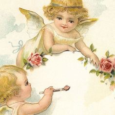 Victorian Illustration CHERUBS Painting | Our Cottage Garden