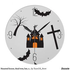 Haunted house, dead tree, bat, cross pattern