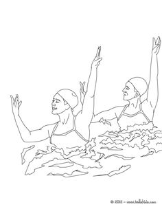Team Technical Routine synchronized swimming coloring page. More sports coloring pages on hellokids.com