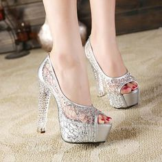 Shoespie Mesh Sequined Crystal Heel Peep-Toe Heels From The Plus Size Fashion Community At www.VintageAndCandy.com