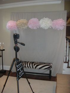 Girl Baby Shower Photo Booth! Fun idea to have a faux photo booth!