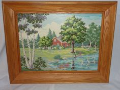 Vintage Mid Century Framed Paint By Number Red Cabin on a Lake #Realism