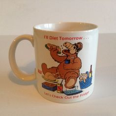 Vintage ALF Coffee Cup Mug I'II Diet Tomorrow...Let's Check Out the Fridge 1987 Alien Productions by afunspottoshop on Etsy