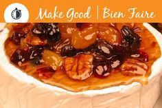Brie with Pecan and Dried Fruit Glaze is a perfect addition to any New Years party, pin this recipe and prep for the big bash! #makegooddessert #appetizer