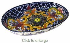 Large Oval Yellow Cross Talavera Serving Bowl