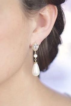 Gold Pearl Drop Bridal Earrings by ForTheMaids