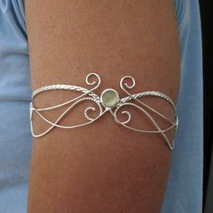 Upper Arm Torc Cuff Moonstone in Sterling Silver - Elvish Magical Renaissance - Wedding Accessory
