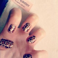 My nails ATM  #nails #cheetah #leopard #juicycouture #salleyhansen #sticker #nail #design - @mikayla_k17- #webstagram