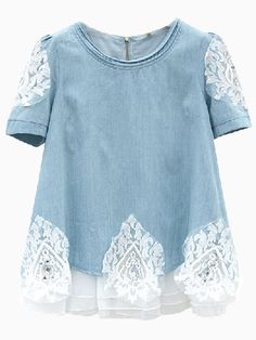 Blue Denim Blouse With Lace Detail And Layered Hem | Choies