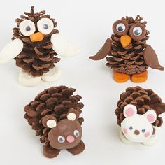 A lovely autumn craft using 3 simple items. Harvest Crafts, Autumn Crafts, Easy Christmas Crafts, Simple Christmas, Pine Cone Art, Pine Cone Crafts, Pine Cones, Animal Crafts For Kids, Crafts For Kids To Make