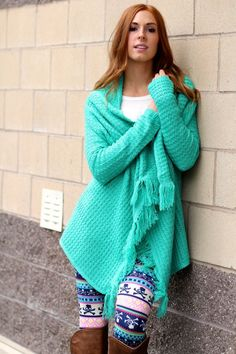 Dont Jade Me Fringe Cardigan, perfect for that touch of color with our cool leggings. (http://www.nanamacs.com/dont-jade-me-fringe-cardigan/)