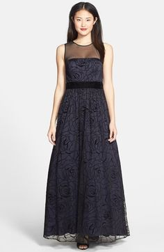 Eliza J Embroidered Mesh A-Line Gown available at #Nordstrom