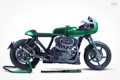 Clean Green: A Czech H-D Sportster cafe racer | Bike EXIF Sportster Cafe Racer, Custom Sportster, Cafe Racer Bikes, Scrambler Motorcycle, Harley Davidson Sportster, Bobber, Motorcycles, Bike Art, Green Cleaning