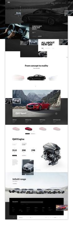 As a huge fan of infiniti cars I decided to create (as a private project) a website concept for them. Website Design Layout, Web Design Tips, Web Layout, Page Design, Layout Design, Modern Website, Website Web, Site Vitrine, Ui Design Inspiration