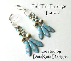 The Fish Tail Earrings are an original design by Debra of DatzKatz Designs.  The simple yet elegant design of my Fish Tail Earring will have you wanting to make a pair in all your favorite colors! This earring is lightweight and the style goes with any outfit.  This listing is for the Direct Download PDF of a full-color 3 page tutorial pattern for my Fish Tail Earrings pattern. The instructions are in English with clear labeled photographs and diagrams - easy to understand. Note: This…