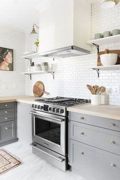 Modern kitchen with light gray cabinents