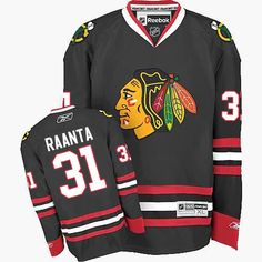 Premier Antti Raanta Black Men's NHL Jersey: Chicago Blackhawks Reebok Third