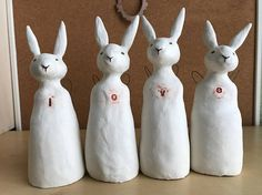 love sculpture four rabbit set white ceramic