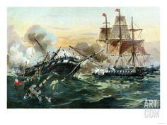 Naval Duel Between the Frigate USS Constitution and the British Ship Guerriere, War of 1812 at Art.com