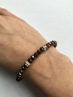 Armband elastische Ella Copper Metallic bruin van Perligna op Etsy