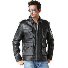 2017 Men Black Genuine M65 Leather Jacket Thick Cowhide Plus Size XXXL Male Winter Slim Fit Leather Safari Coat FREE SHIPPING